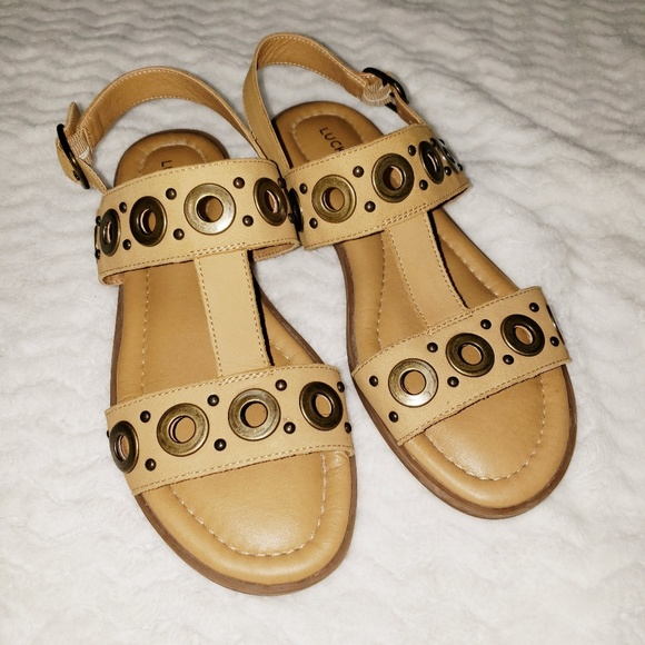 Lucky Brand Shoes - Lucky Brand Gold Metal Studded Sandals Size 8.5